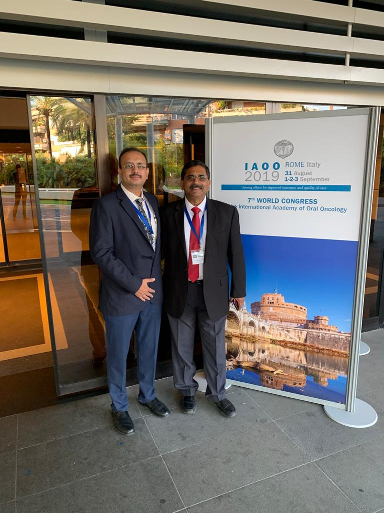 Dr Kaustubh Patel and Dr Dushyant Mandlik were invited as faculty for IAOO (7th world Congress of International Academy of Oral Oncology) at Rome, Italy from 31st August to 3rd September 2019.