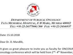 At Tata memorial Hospital, Mumbai, India for OncoSurg 2018, 3rd November, 2018. to moderate a session on thyroid surgery.
